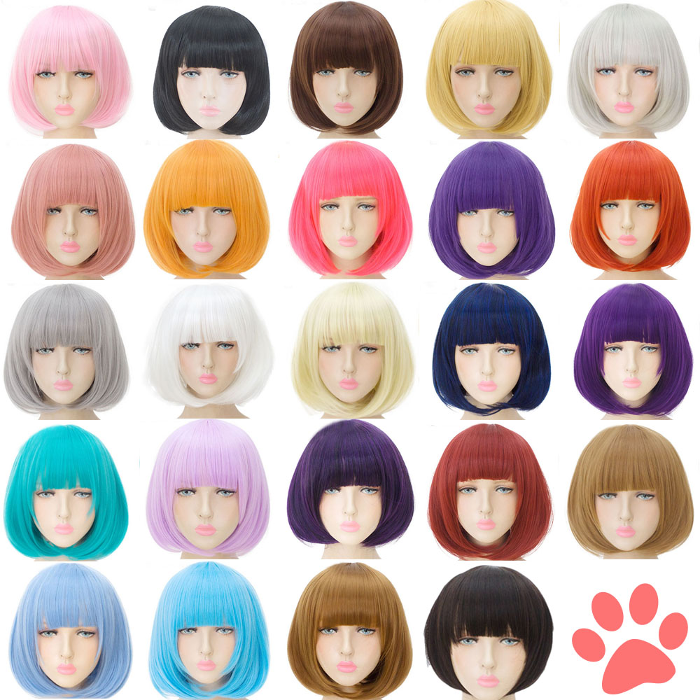 MUMUPI Synthetic-Wig Bangs Wig Cosplay Hair-Bob Short Blonde Women's Wigs Pink Black title=