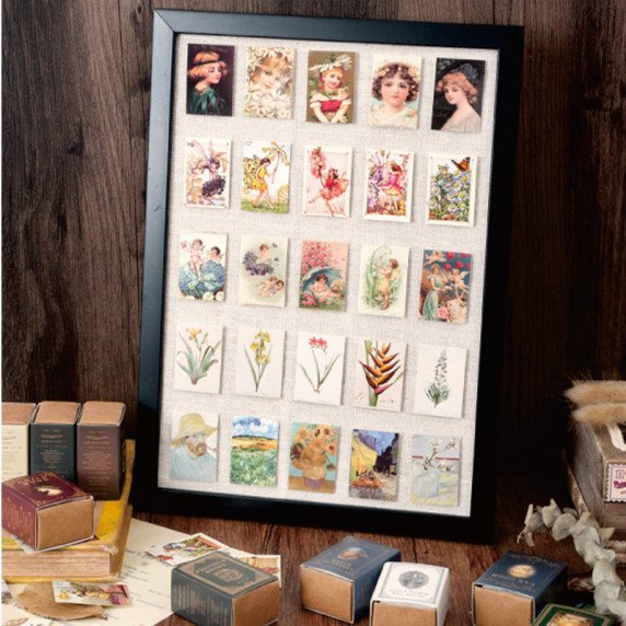 100pcs/pack Library Collection Journal Diary Label Album Decor Vintage Stamp Stickers Retro Matchbox Scrapbooking Paper Sticker