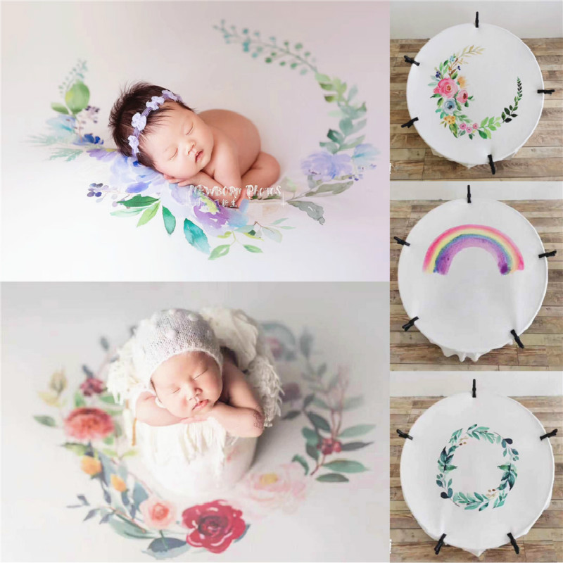 Newborn Photography Prop Stretch Background Blanket Imitation Of Watercolor Hand-painted Blanket Studio Creative Props Blankets