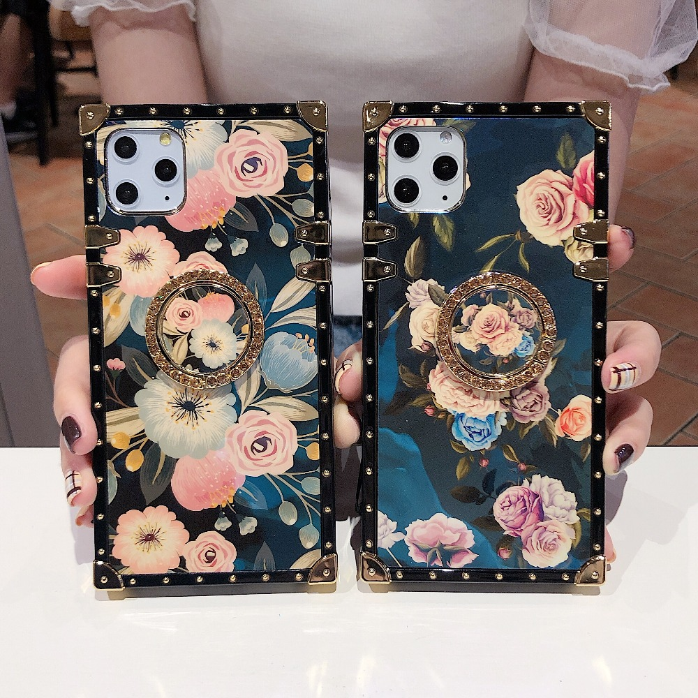 For Samsung Note10 Plus Note9 8 S10 Plus S10e S8 S9 A70 A50 A20 A30 M30 M20 Case Square Diamond Stand Blue Ray Rose Flower Cover (6)