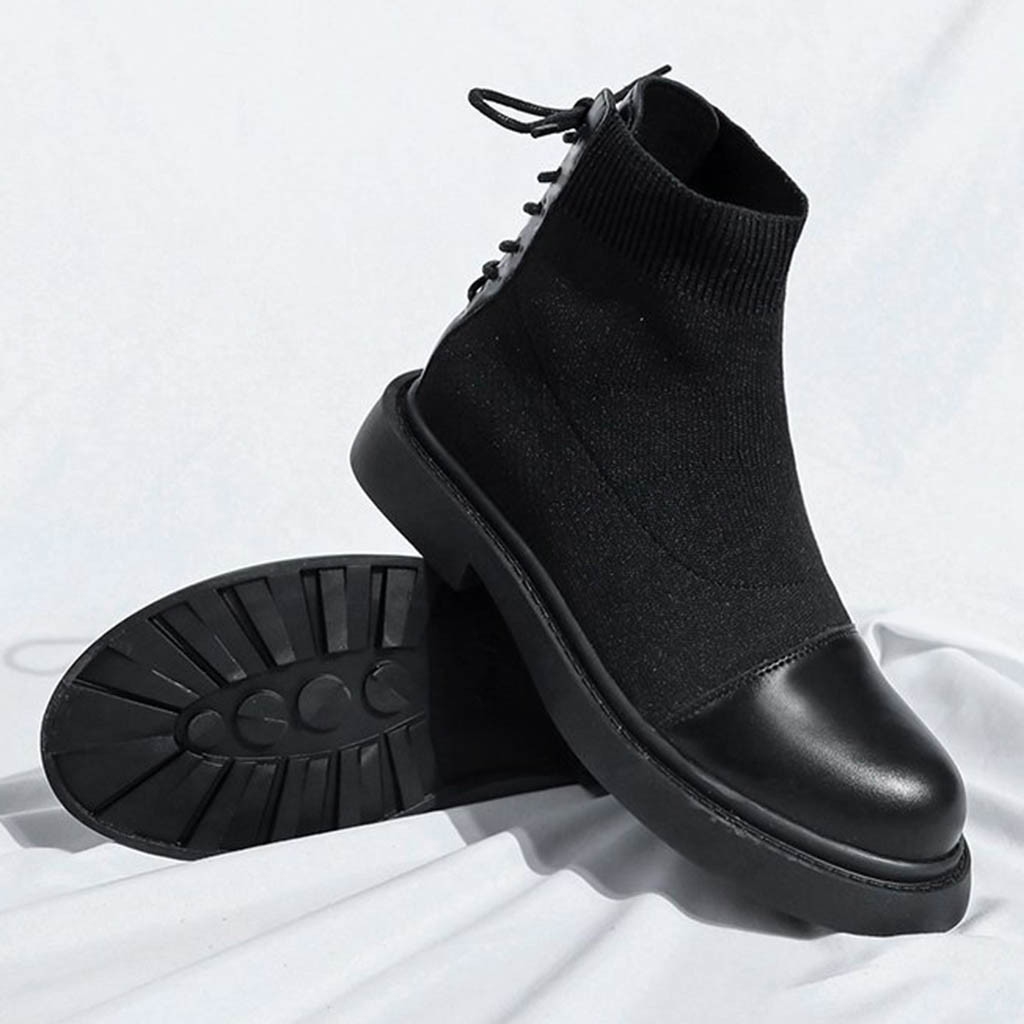 SAGACE Fashion Ankle Boots Winter Ankle Boots Pu Leather Women Boots Work Shoes Round Toe Lace-Up Women Shoes Black Female Aug7 basic pump