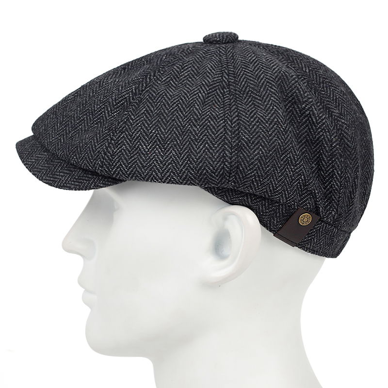 Plaid Beret Hats Caps Classic Fashion Men's Casual-Hat High-Quality with Little Elastic title=
