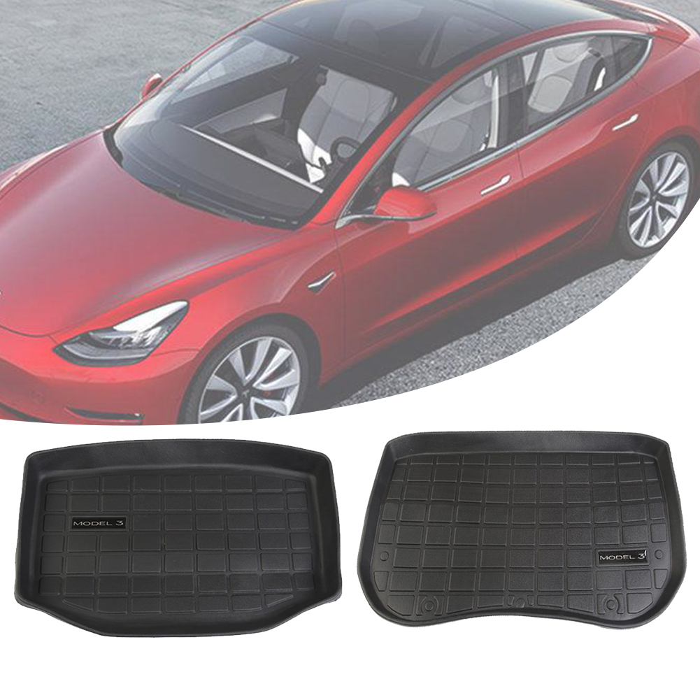 Luixxuer Car Accessories Trunk//Frunk Waterproof Protective Floor Mat Storage Mat All Weather Protection Heavy Duty Rubber Mat Compatible with Tesla Model 3