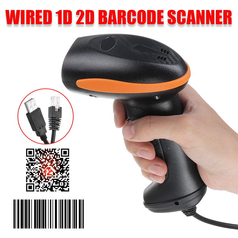 Handheld Barcode Scanner Guns-Reader-Bar Laser Code-Receipt QR USB Wired 2D/1D title=