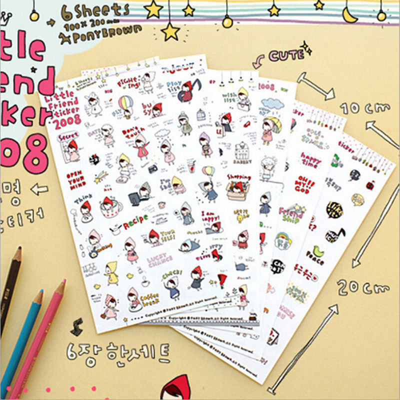 6 sheets/set new  Korean Cartoon My little friend Paper Sticker for Mobile phone Decorative Stickers