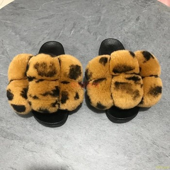 Fur Slippers Women Furry Slides Summer Fluffy Slippers House Shoes Woman Real Fur Slides Home Wholesale Women's Fur Fox Slippers