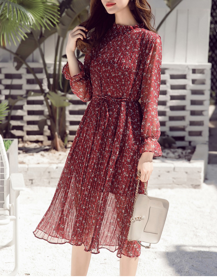 Women chiffon dress 19 spring autumn female elegant vintage long sleeve dot pleated dress office lady casual loose dresses 11