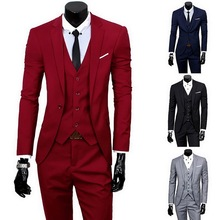 Man Suit Blazer Office-Set Waistcoat Groom Formal-Dress Weeding Business Slim Male Sfit