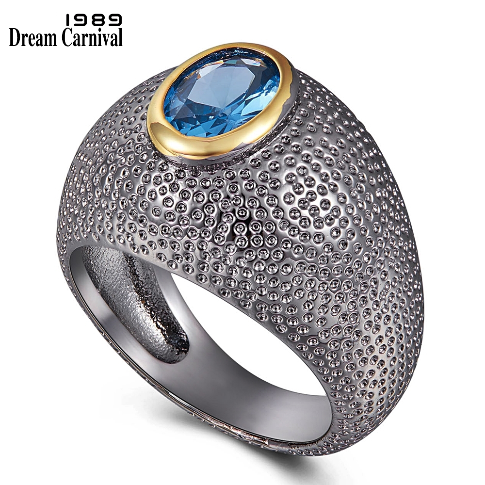 WA11790 DreamCarnival1989 Unique Solitaire-Ring for Women Blue Zircon Delicate Feminine Jewelry Ring Tidy Dots Surface Hot Pick (1)