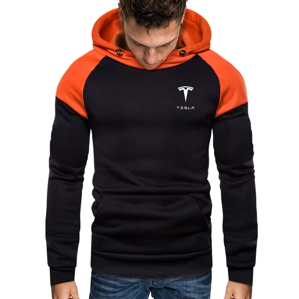 Wild Mens Tesla Sweatshirt Long Sleeve Autumn Winter Casual Hoodies Patchwork Tracksuits Fitness Muscle High Quality Men Tops