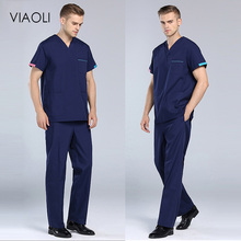 Scrubs Uniform Viaoli Short-Sleeve Salon V-Neck New Summer Men