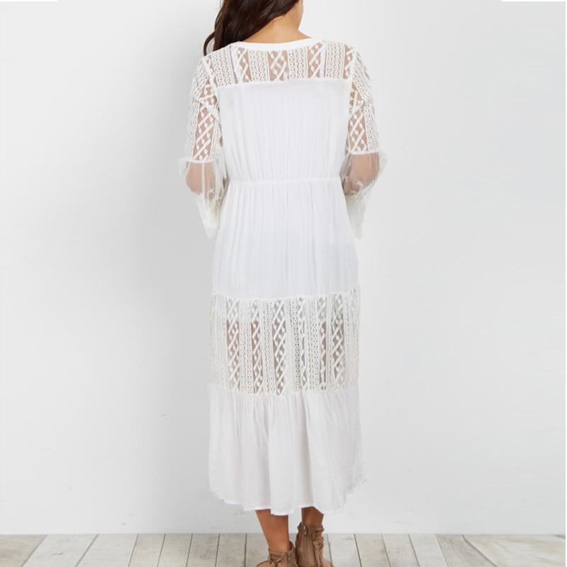 Swimsuit Summer Beachwear Cover Up For Women Cotton Beach Dress Cover Ups Sarong Summer Bikini Swimwear Lace Coverups Pareos