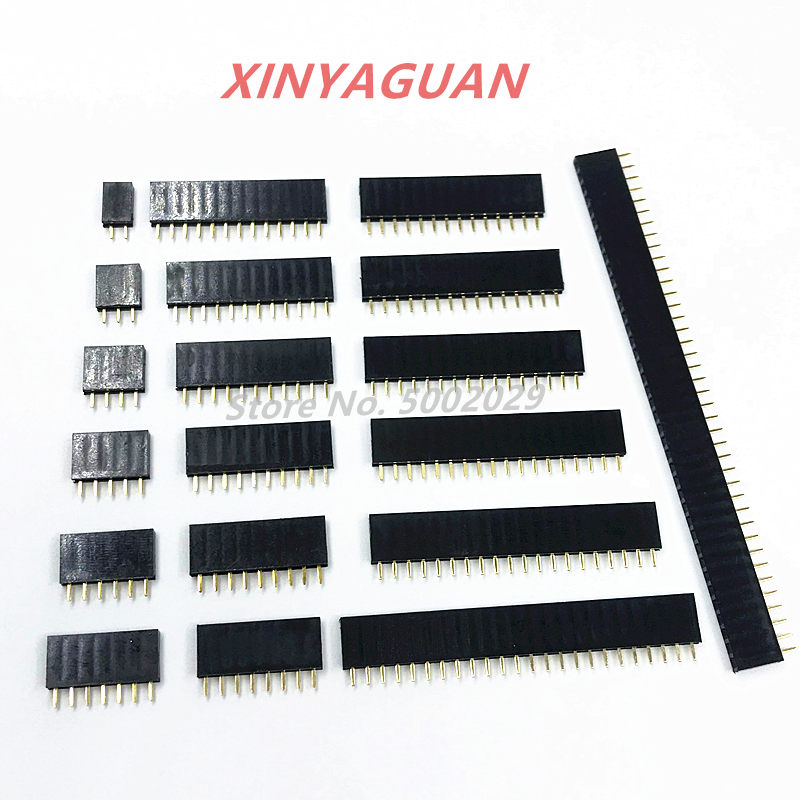 2.54mm Pitch Single Row Female 2~40P PCB socket Board Pin Header Connector Strip Pinheader 2/3/4/6/10/12/16/20/40Pin For Arduino