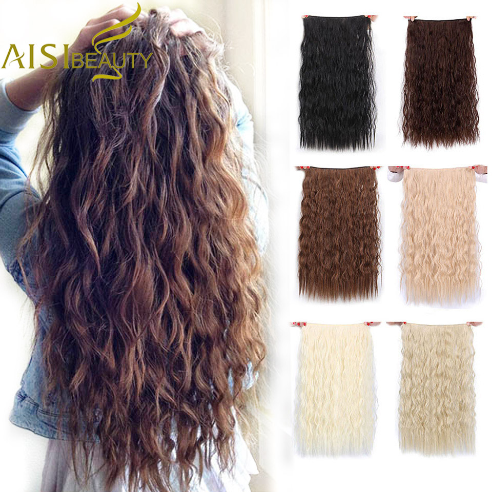 AISI BEAUTY Long Clips in Hair Extension Synthetic Natural Hair Water Wave Blonde Black Brown Red 22'' 28'' For Women Hairpieces
