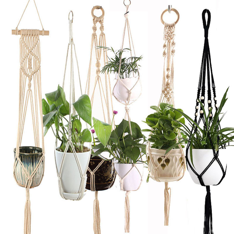 Hot sales handmade macrame plant pot tray plant pot hanger p macrame plant hanger plant hanging for garden plant tray title=