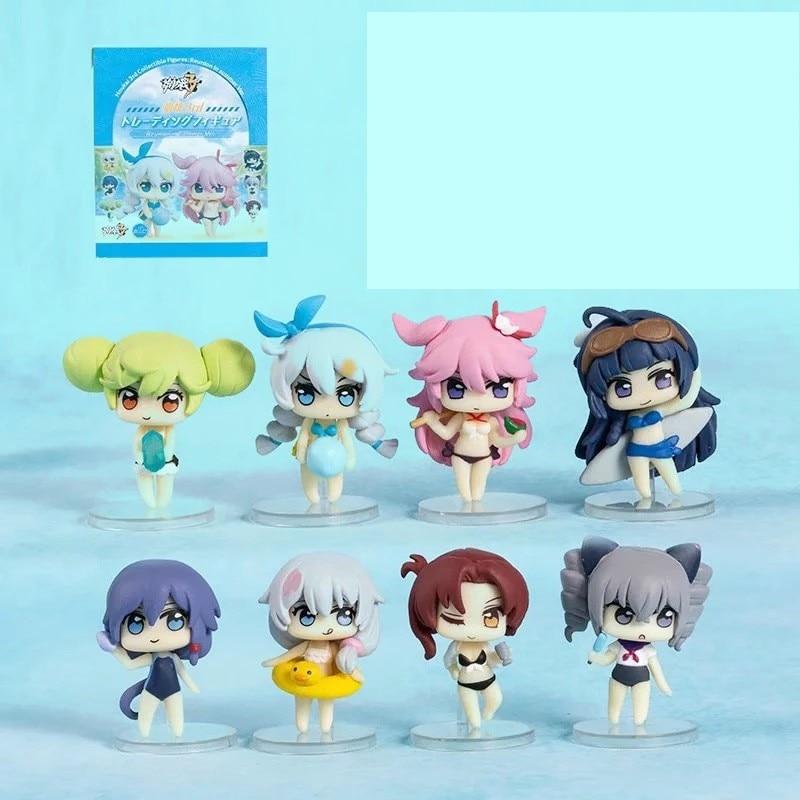PVC Figure New No Box Anime 8pcs//Set Honkai Impact 3rd Reunion in summer Ver