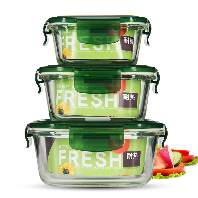 Creative Glass Borosilicate Heat-Resistant Freshness Container Microwave Oven Only Sealed Freshness Bowl