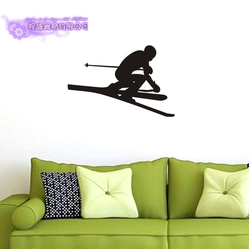 DCTAL Ski Car Sticker Snowboarding Decal Skiing Posters Board Vinyl Wall Decals Pegatina Decor Mural Ski Sticker