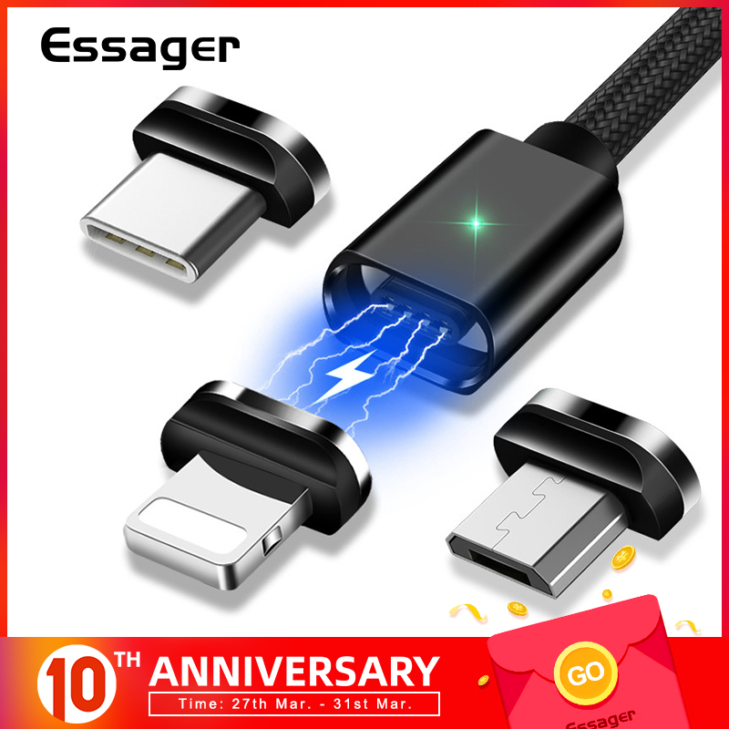 Essager Magnetic Micro USB Cable For iPhone Samsung Fast Charging Data Wire Cord Magnet title=
