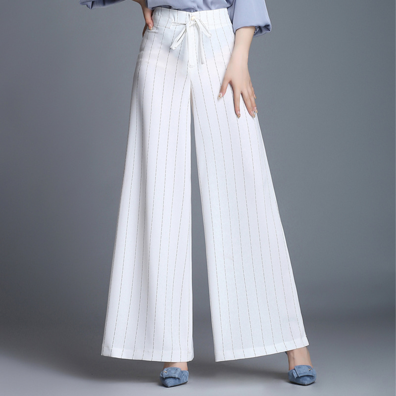 Summer The New Stripe Wide-legged Pants Woman Loose Fashionable Casual High Waist Pants Plus Size