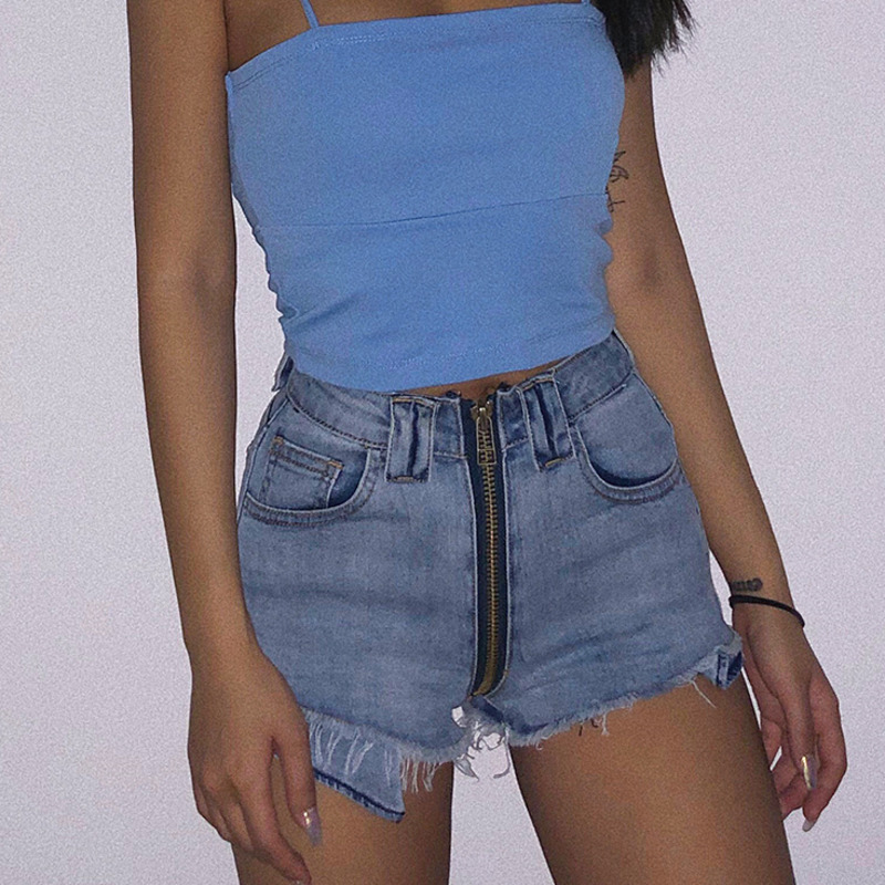 DEAT 2020 new spring and summer fashion women clothes Denim shorts women/'s high-waist Zippers hots WL32705L