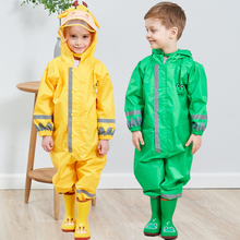Kids Raincoat Hooded Reflective-Rainsuit-Rainwear Children Girl Breathable for Boy Students