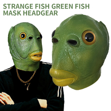 Fish-Mask Headgear Horror Boba Funny Weird Latex Spoof Green Creativity Party Run