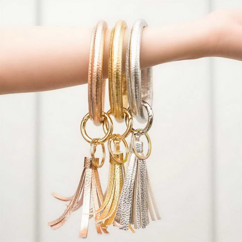 Bracelet Keychain Key Chain Faux Leather Band Tassel Ring Jewelry RED Car