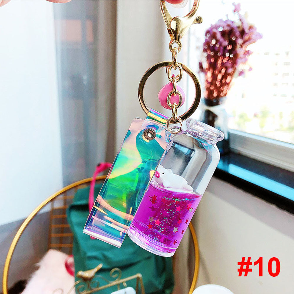 Floating Creative Cute Pig Milk Bottle Keychain Moving Liquid Quicksand Drift Bottle Keyring For Women Bag Pendant Accessories
