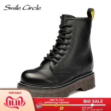 Motorcycle-Boots Ladies Shoes Smile Circle Lace-Up Chunky Autumn Women Fashion for Size36-41
