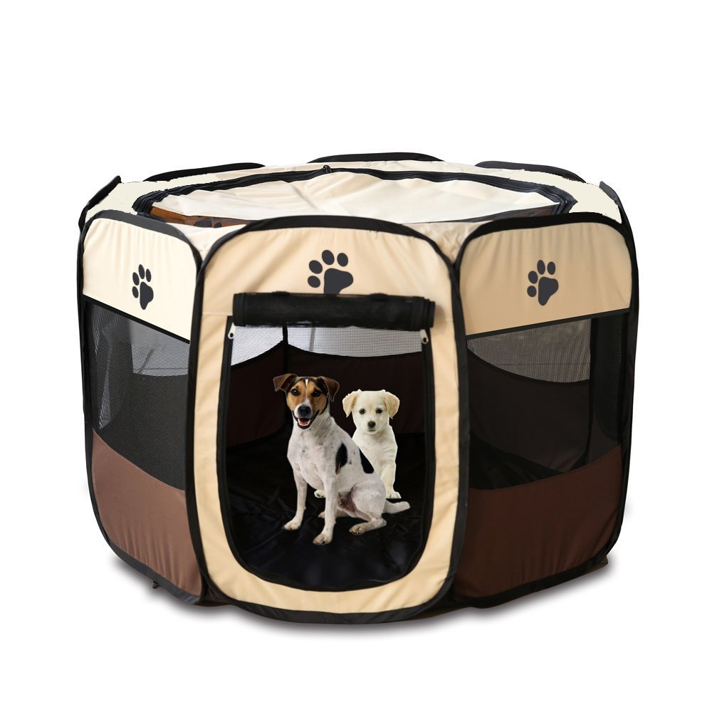 Dog cage Portable Pet Tent Folding dog kennel Cage Dog Cat Tent Playpen Puppy Kennel Easy Operation Octagonal Fence