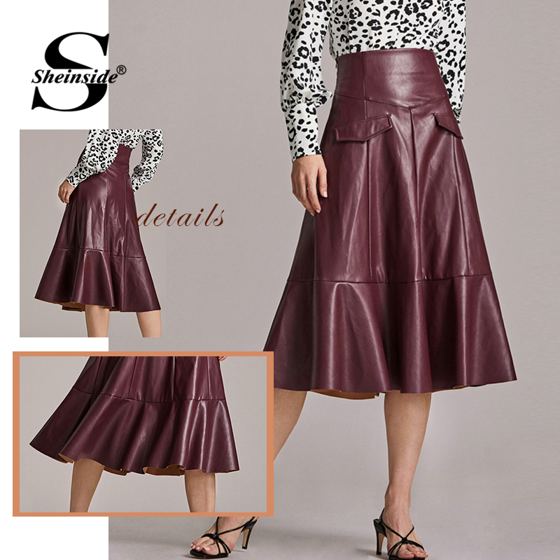 Sheinside Burgundy Wide Waistband Zipper PU Skirt Women 2019 Autumn Decorative Pocket A Line Skirts Ladies Ruffle Hem Skirt