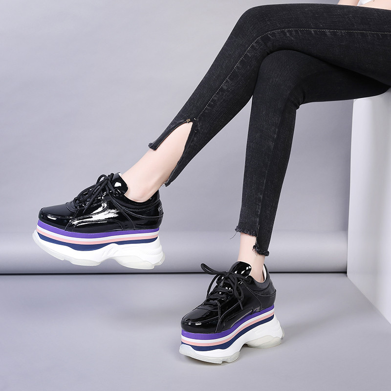 New 2020 Spring Creepers Pumps Women Shoes Patent Leather Thick Bottom Women Wedges High Heels Shoes Casual Lace Up Ladies Pumps (8)