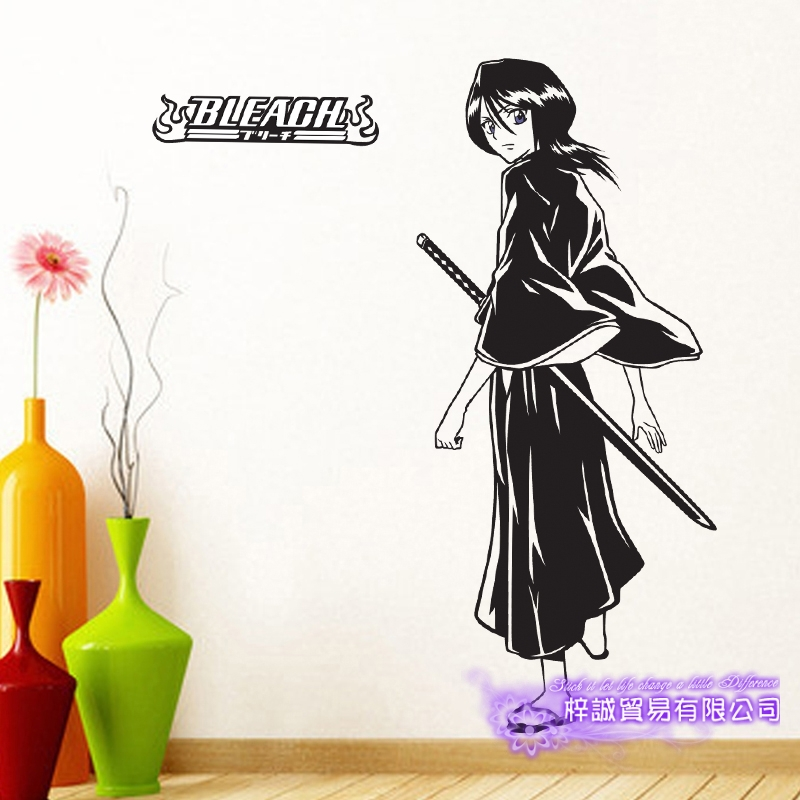 DCTAL BLEACH Kuchiki Rukia Car Decal Wall Sticker Cartoon Fans Vinyl Wall Stickers Car Decal Decor Home Decorative