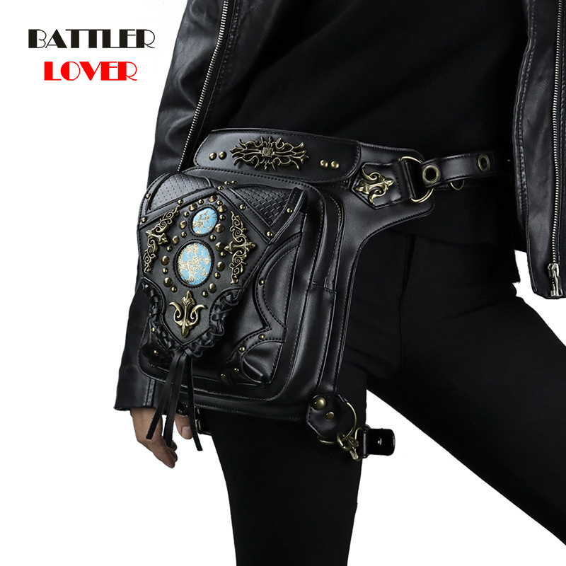Steampunk Waist Bags Vintage Women Black Leather Street Style Mini Motorcycle Leg Thigh Holster Bag Crossbody Bag Hip Hop Punk