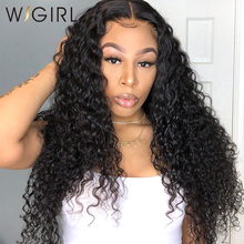 Wig Glueless Human-Hair-Wigs Long-Frontal Afro Kinky Curly Deep-Water-Wave Black-Women