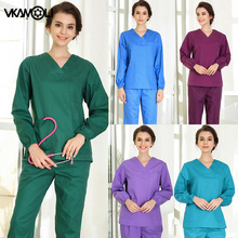 short/long sleeved Scrub set split brush uniform suit overalls