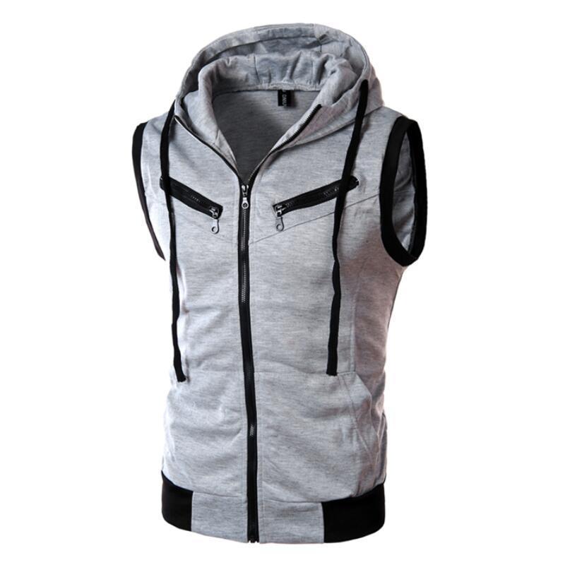 Solid Color Men Hooded Waistcoat Fashion Brand Male Sleeveless Jacket Zipper Pocket Gilet Casual Cotton Men Vest Plus Size XXXL