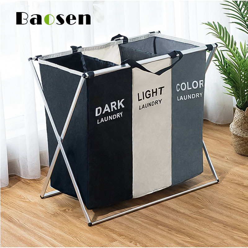 Baosen X-shape Foldable Laundry Basket for Dirty Clothes Laundry Hamper Two Or Three Grids Collapsible Folding Basket title=