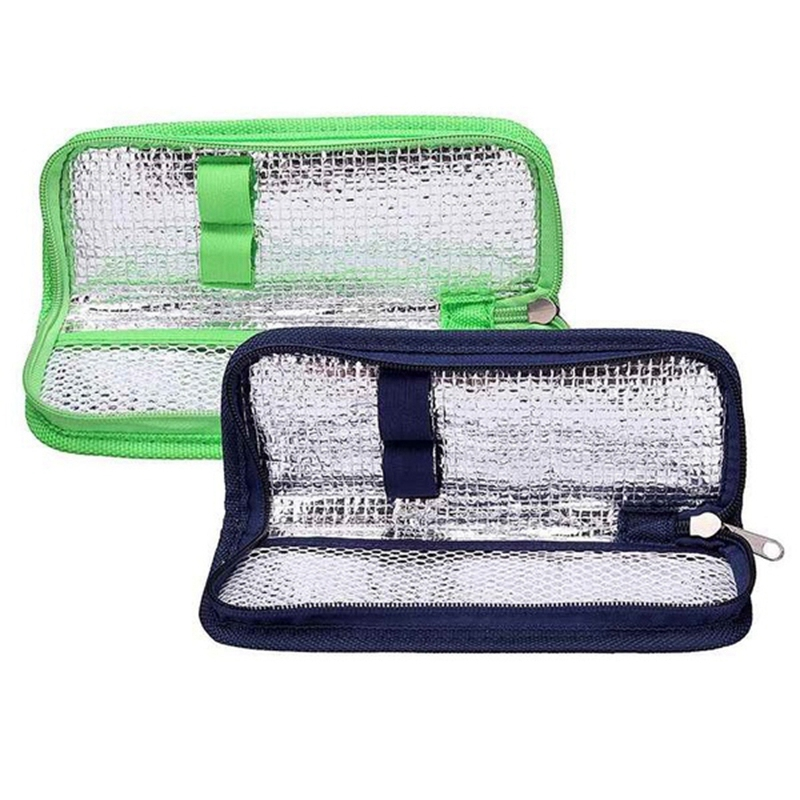 Dasing Enfriador de Insulina Estuche de Viaje Organizador de Medicamentos para la Diabetes Cooler Bag Impermeable y Forro de Aislamiento Azul Marino