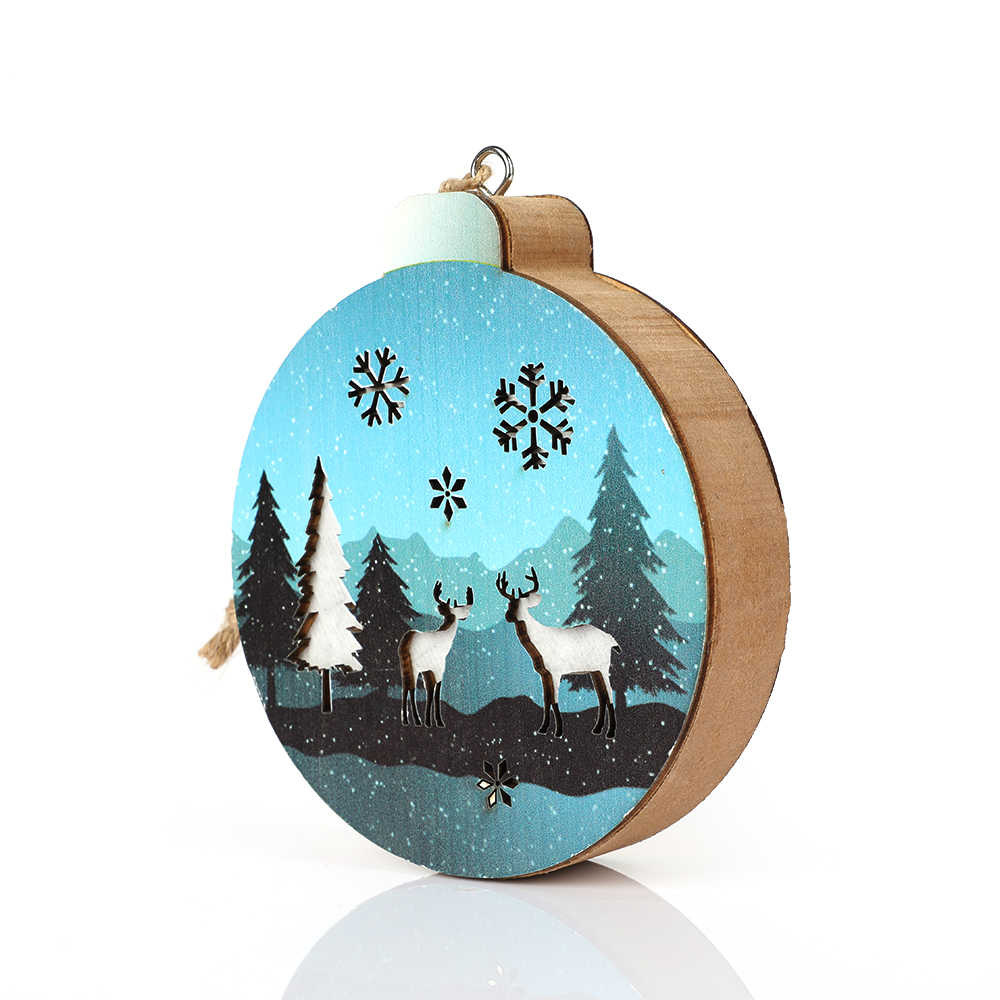 New Merry Christmas Decorations Christmas Pendant For Home Wooden LED Lights Products Christmas Decoration Xmas Gift
