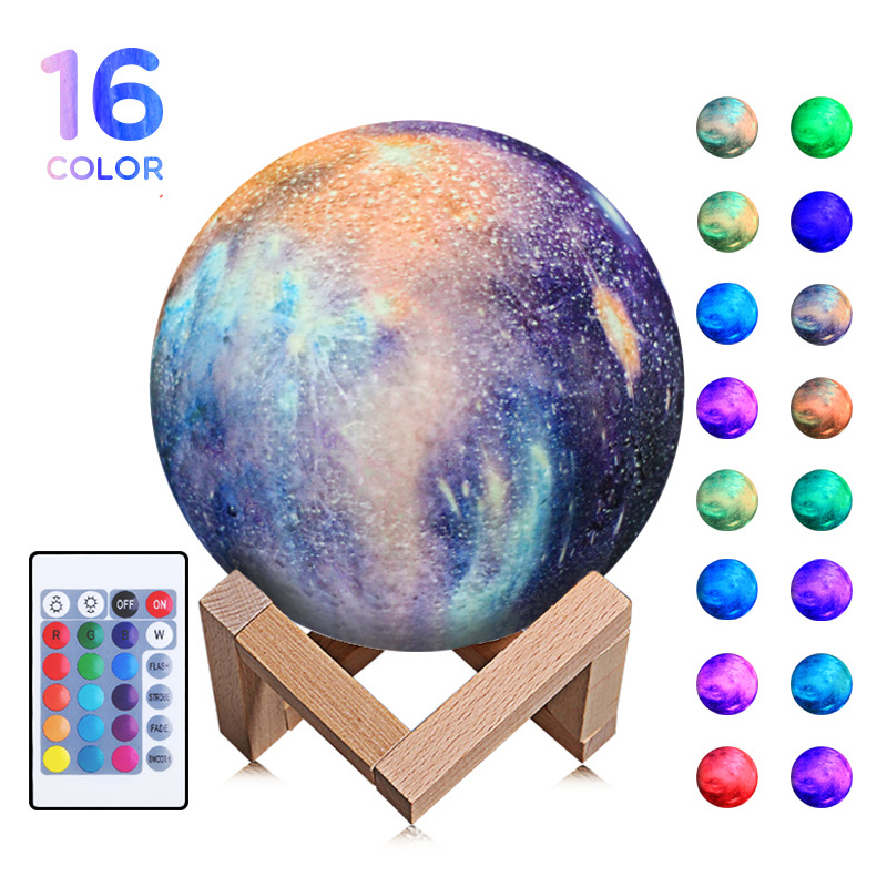 16 Colors 3D Print Moon Lamp With Remote Control Starry Sky Galaxy Light Built In Rechargeable Battery Night Light Creative Gift