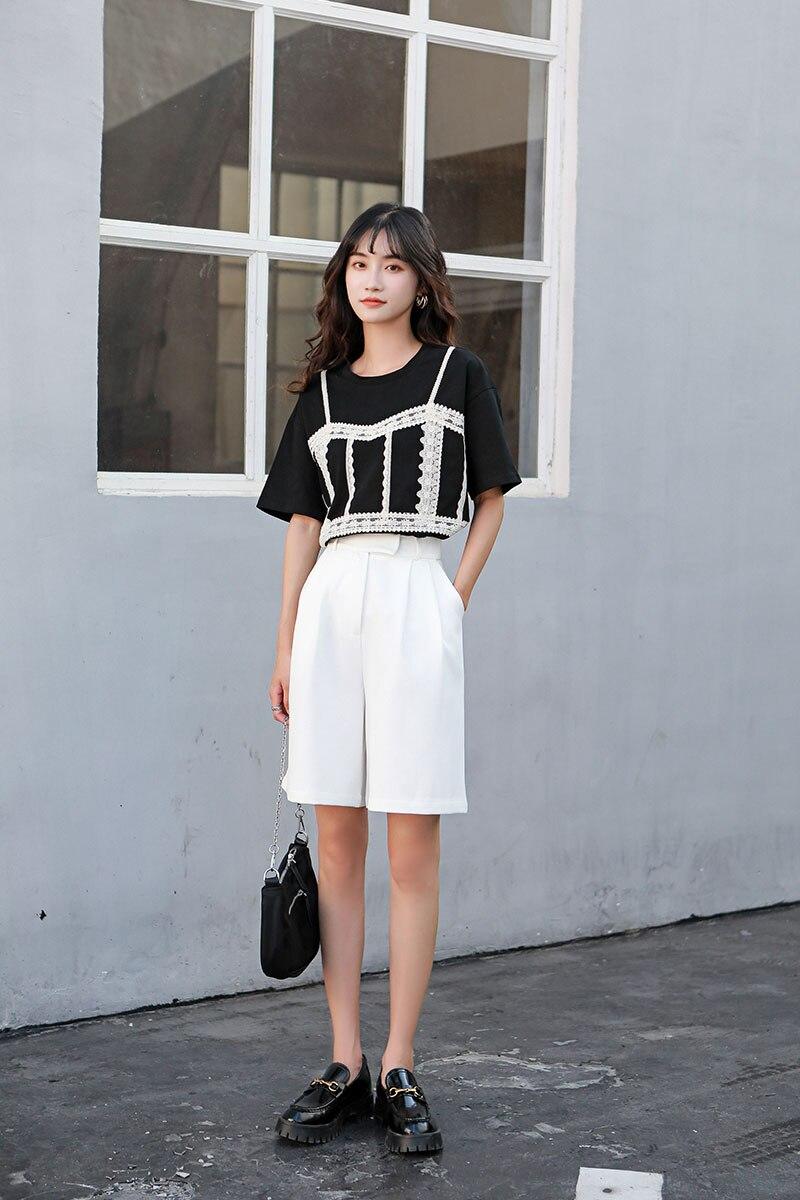 Hb34eedd79f33403fb841ad7c3ca30d15m - Summer Korean High Waist Loose White Shorts