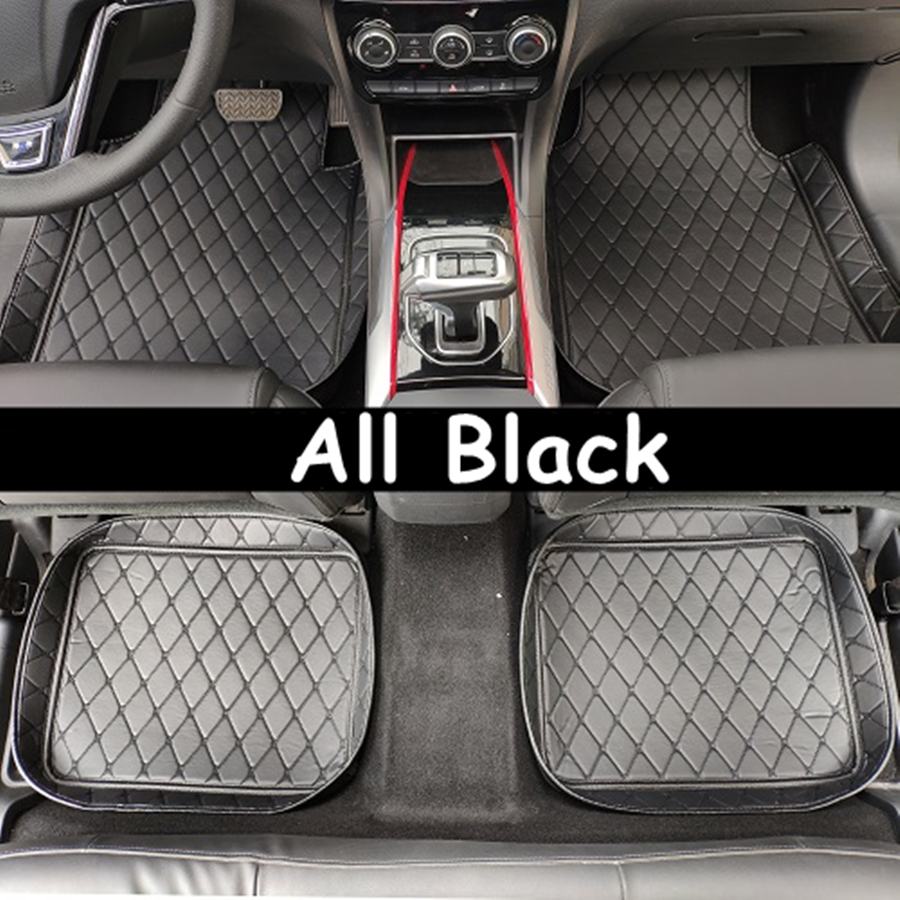 UNIVERSAL CAR FLOOR MATS BLACK WITH RED TRIM FOR FORD FOCUS FIESTA MONDEO KA