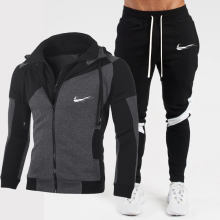 Men's suit brand zipper hoodie sportswear sportswear 2 pieces of men's hoodie + pants suit men's streetwear jacket winter