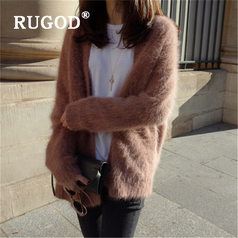 RUGOD Elegant Soft Mink Cashmere Sweater Women Fashion V Neck Long Sleeve Fluffy Cardigan Knitted Coat Winter Sweater Pull Femme