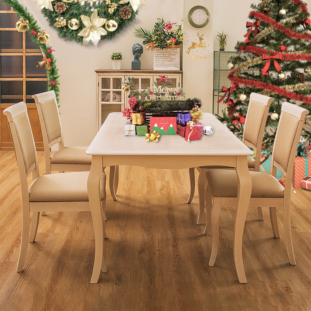 Furgle Set of 5Pcs Christmas Wood Nature Tabel&Chair Dinning Table and Chair Set with Fabric Seat Rubber Wood Kitchen Furniture title=