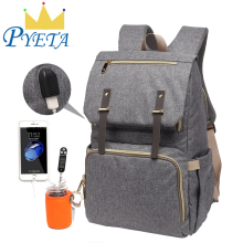 Diaper-Bag Bottle-Holder Mommy Backpack Baby Waterproof with Usb-Port Rechargeable