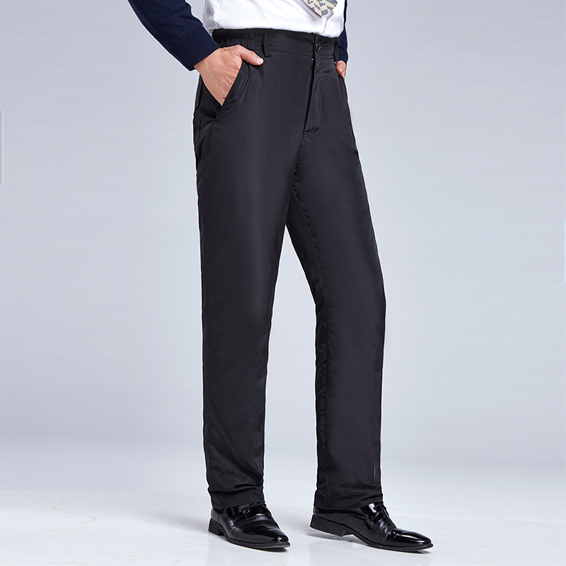 Middle-aged Warm Men/'s Trousers 50-60-Year-Old Men Solid Color High Waist Straight-Cut Large Size Outer Wear Daddy Clothes down