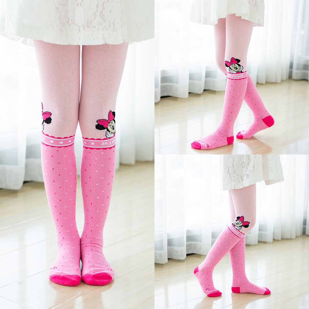 Disney Pantyhose Girl Hello Kitty Cartoon Cotton Tights For Baby Girls  Cute Pink Grey Knitted Stockings Girl Suitable for 2-10Y
